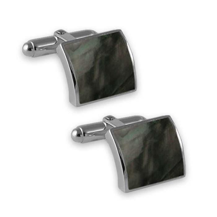 Sterling Silver Black Shell Convex Cufflinks