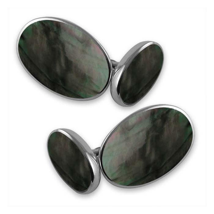 Sterling Silver Oval Black Shell Style Cufflinks