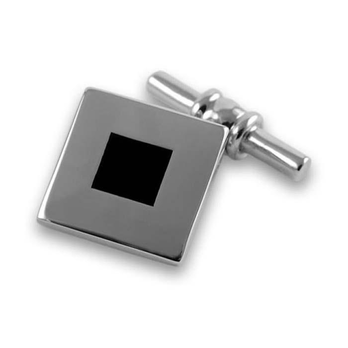 Sterling Silver Bold Square Onyx Cufflinks