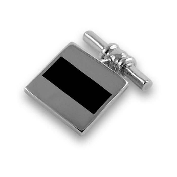 Sterling Silver Bold Stripe Onyx Cufflinks