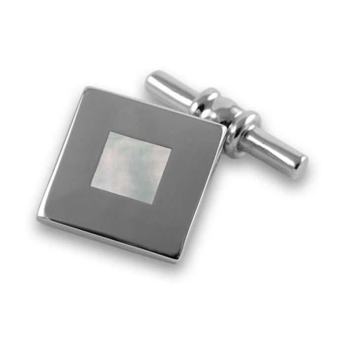 Sterling Silver Bold Square Mother Of Pearl Cufflinks