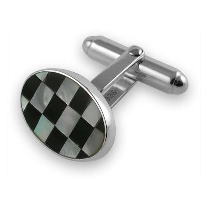 Sterling Silver Mother Of Pearl - Onyx Chequered Cufflinks