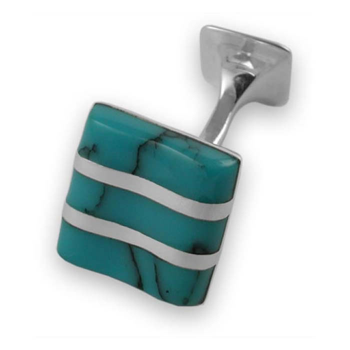 Sterling Silver Striped Turquoise Cufflinks