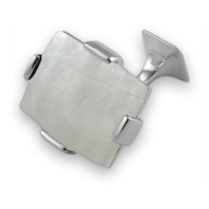Sterling Silver Simple Rectangular Mother Of Pearl Cufflinks