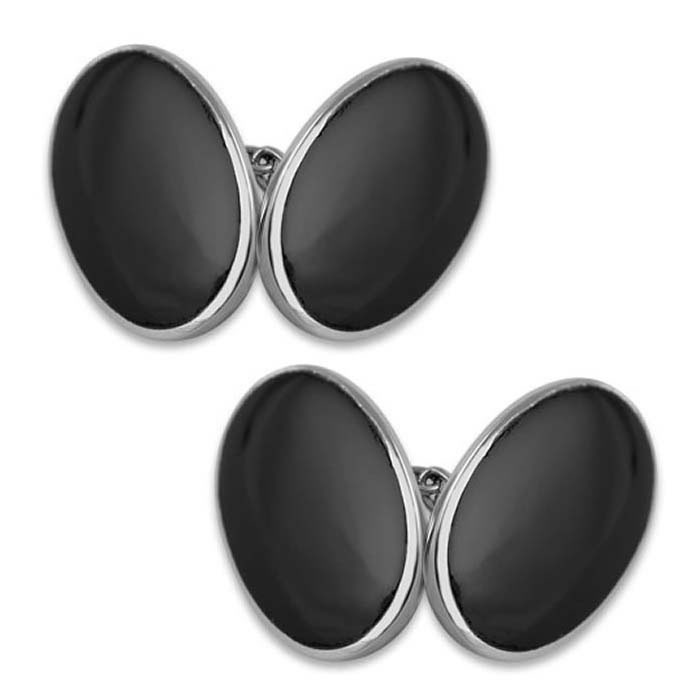Sterling Silver Oval Onyx Cufflinks