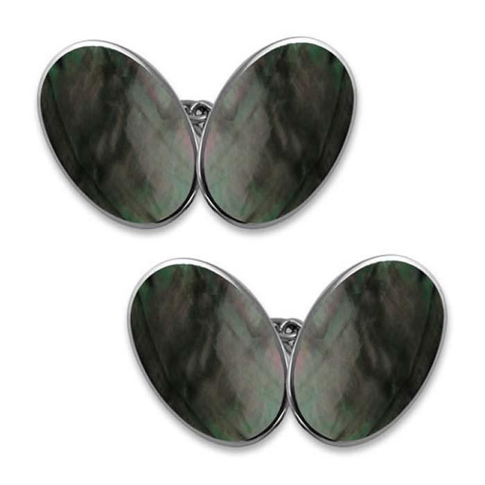 Sterling Silver Black Shell Cufflinks