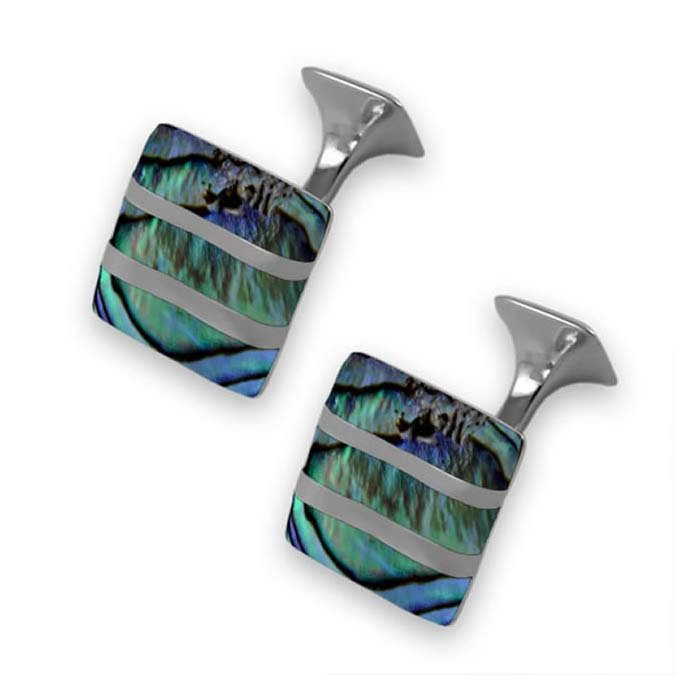 Sterling Silver Striped Oyster Shell Cufflinks