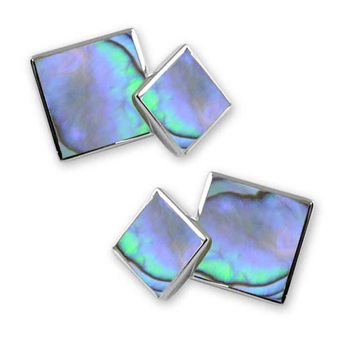Sterling Silver Square Oyster Shell Cufflinks