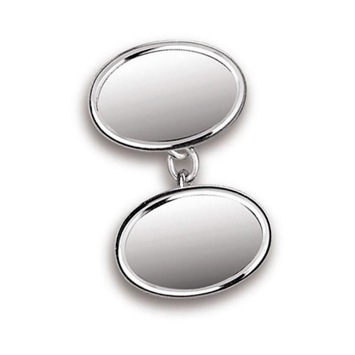 Sterling Silver Plain Oval Chain Cufflinks