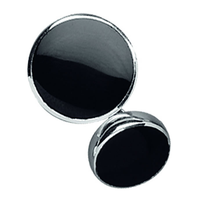 Sterling Silver Onyx Chain Cufflinks