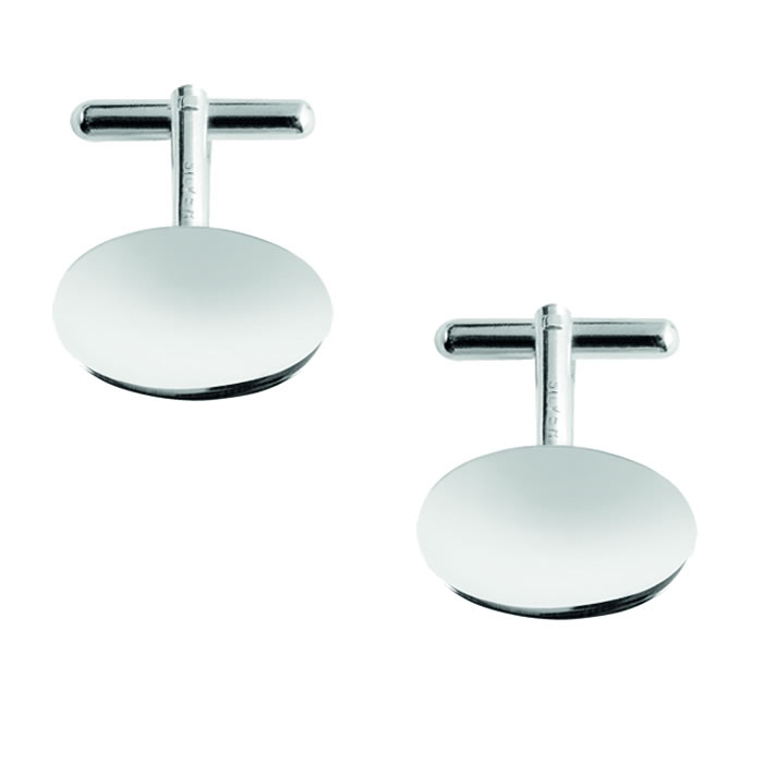 Sterling Silver Oval Post Cufflinks