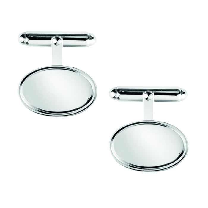 Sterling Silver Plain Oblong Post Cufflinks