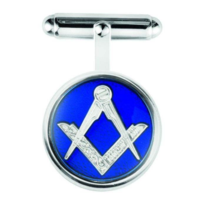 Sterling Silver Blue Masonic Post Cufflinks