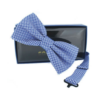 Blue Chequered Self Tie Bow Tie