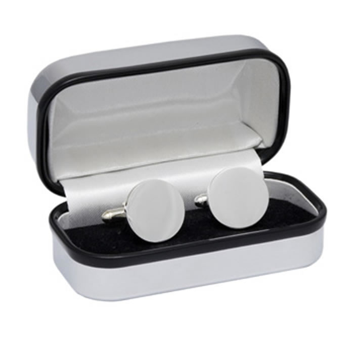 Round Simple Silver Plated Cufflinks