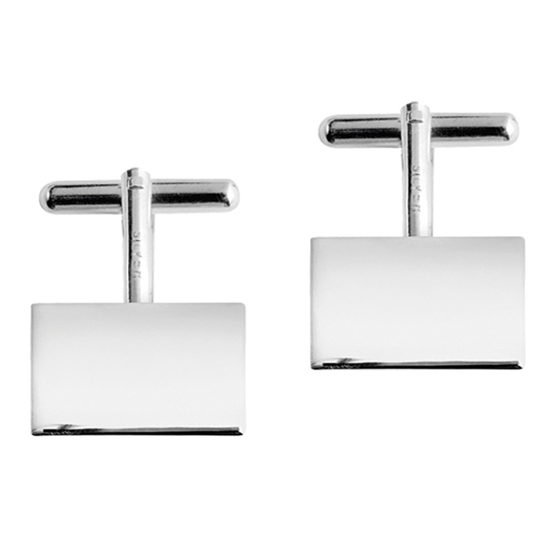 Sterling Silver Plain Rectangle Post Cufflinks
