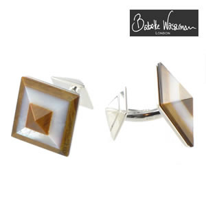 Pi Tiger Eye & Mother Of Pearl Pyramid Cufflinks