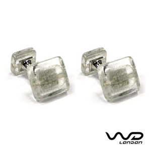 Barnaby White Clear Cufflinks