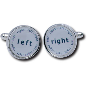 Left Right Duos Silver Plated Cufflinks