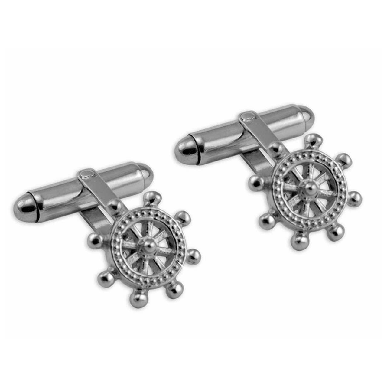 Sterling Silver Ships Steering Wheel Cufflinks
