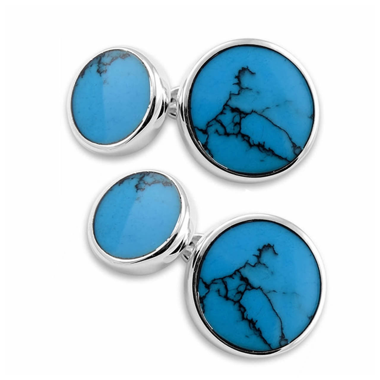 Sterling Silver Turquoise Round Cufflinks