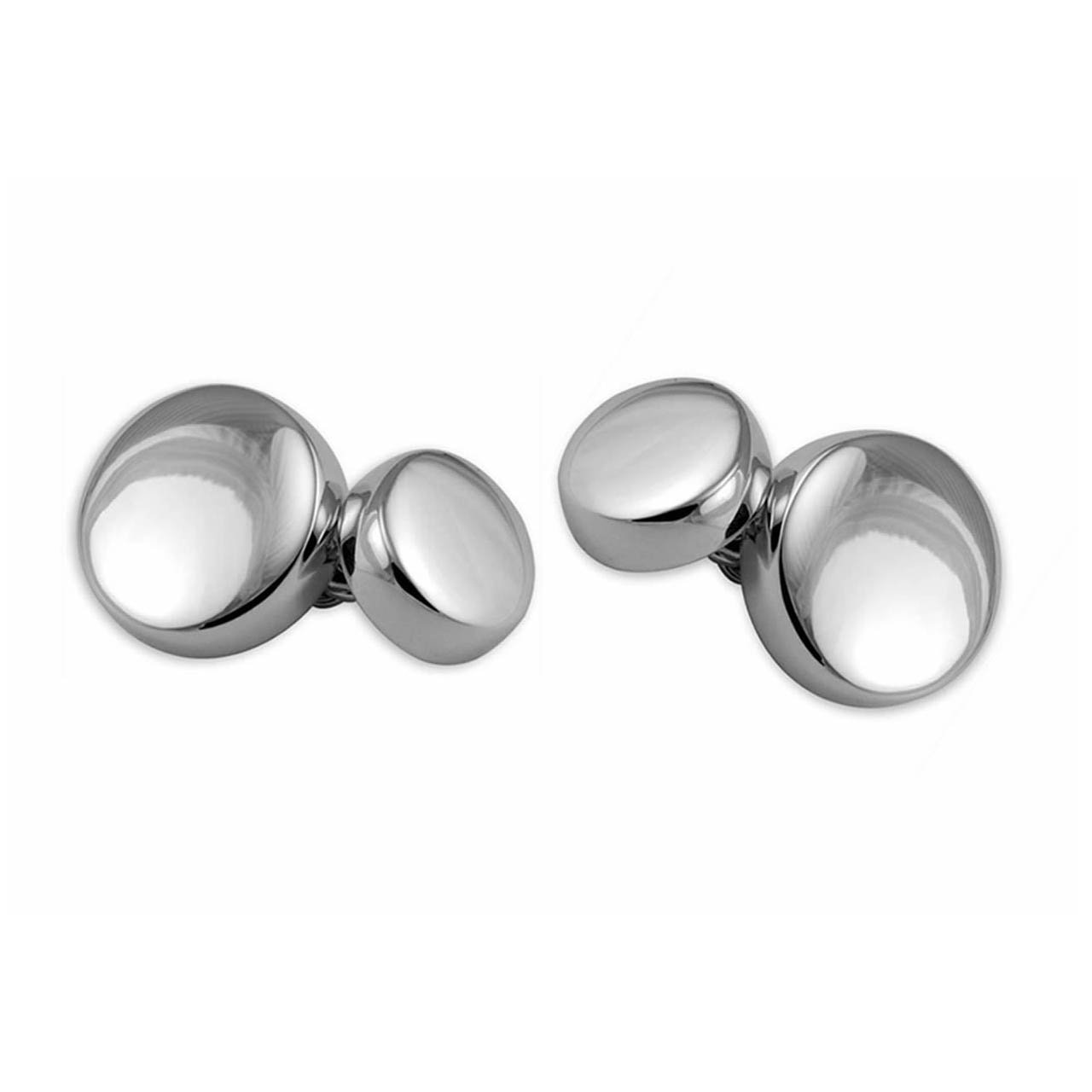 Sterling Silver Plain Round Small Chain Cufflinks