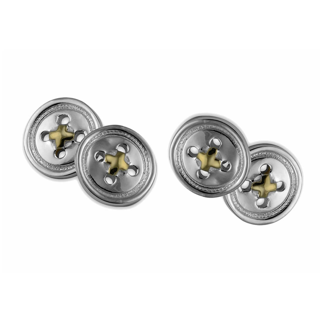 Sterling Silver Button Cufflinks With Gold Thread