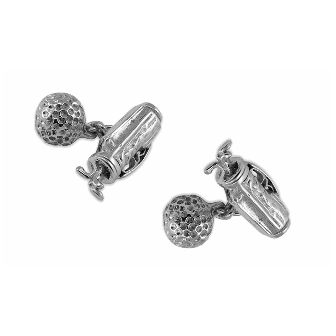 Sterling Silver Golf Bag & Ball Cufflinks