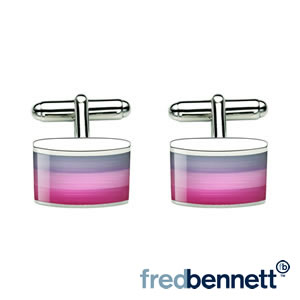 Pink Cats Eye Glass Striped Cufflinks
