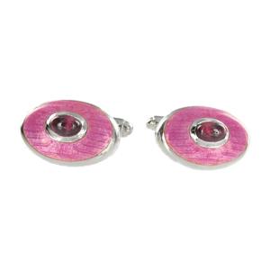 Silver Pink Rhodolite Cufflinks