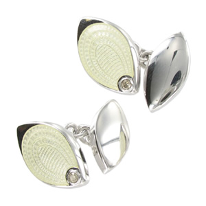 Silver White Diamond Style Cufflinks