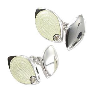 Silver White Diamond Style Cufflinks