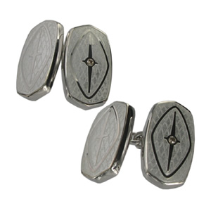 Silver White Oval Cufflinks