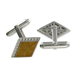 Silver Gold Diamond Cufflinks