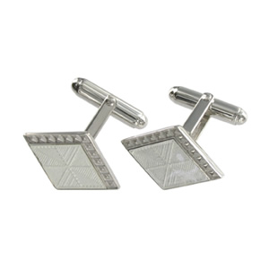 Silver White Diamond Square Cufflinks