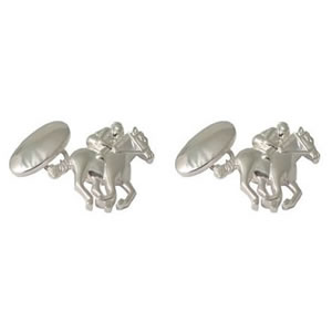 Race Horse Sterling Silver Cufflinks