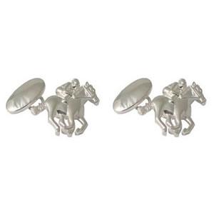 Race Horse Sterling Silver Cufflinks
