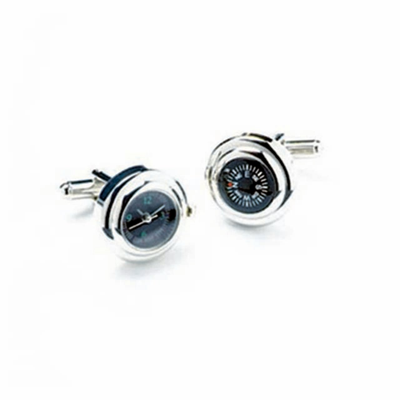 Rhodium Watch And Compass Cufflinks