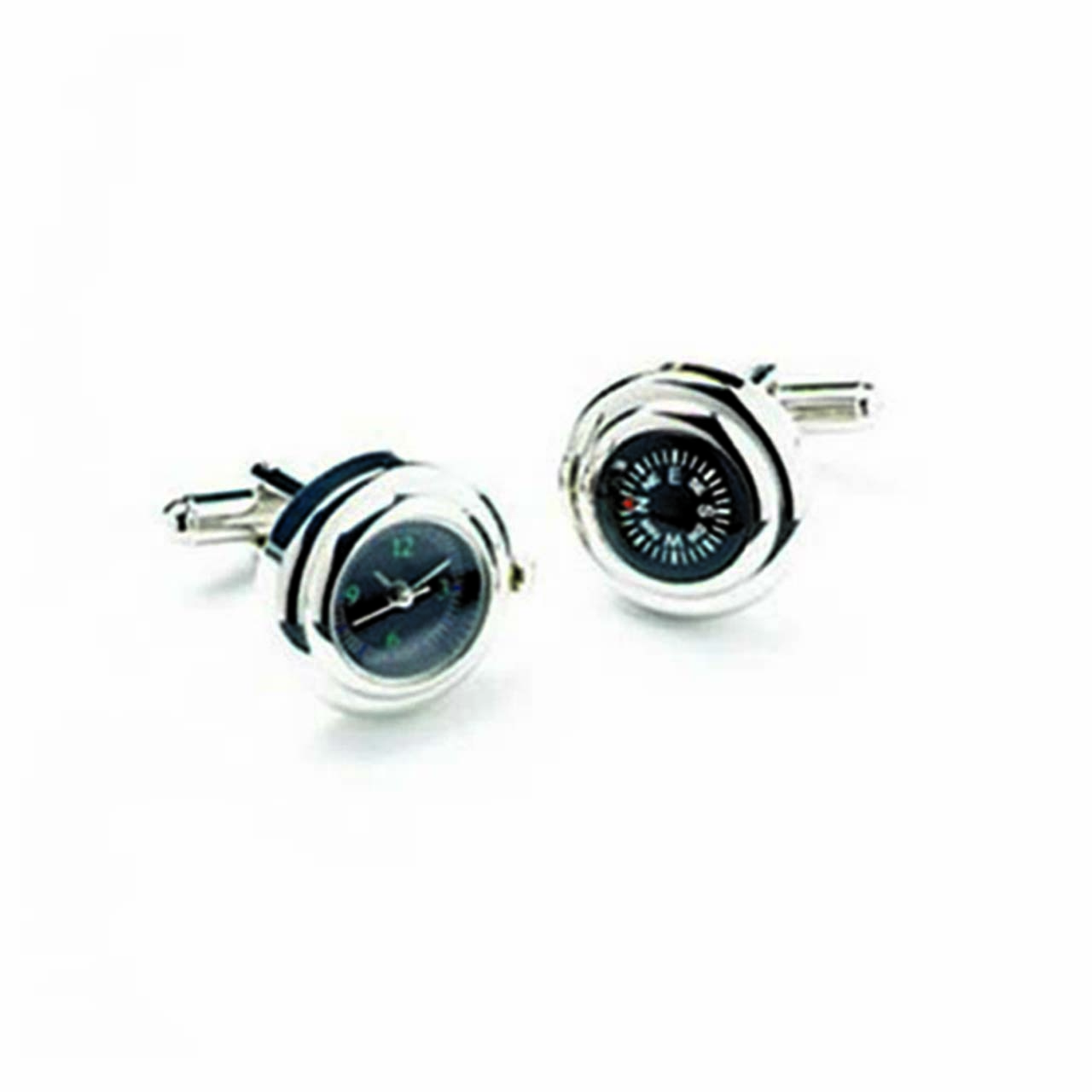 Rhodium Watch And Compass Cufflinks