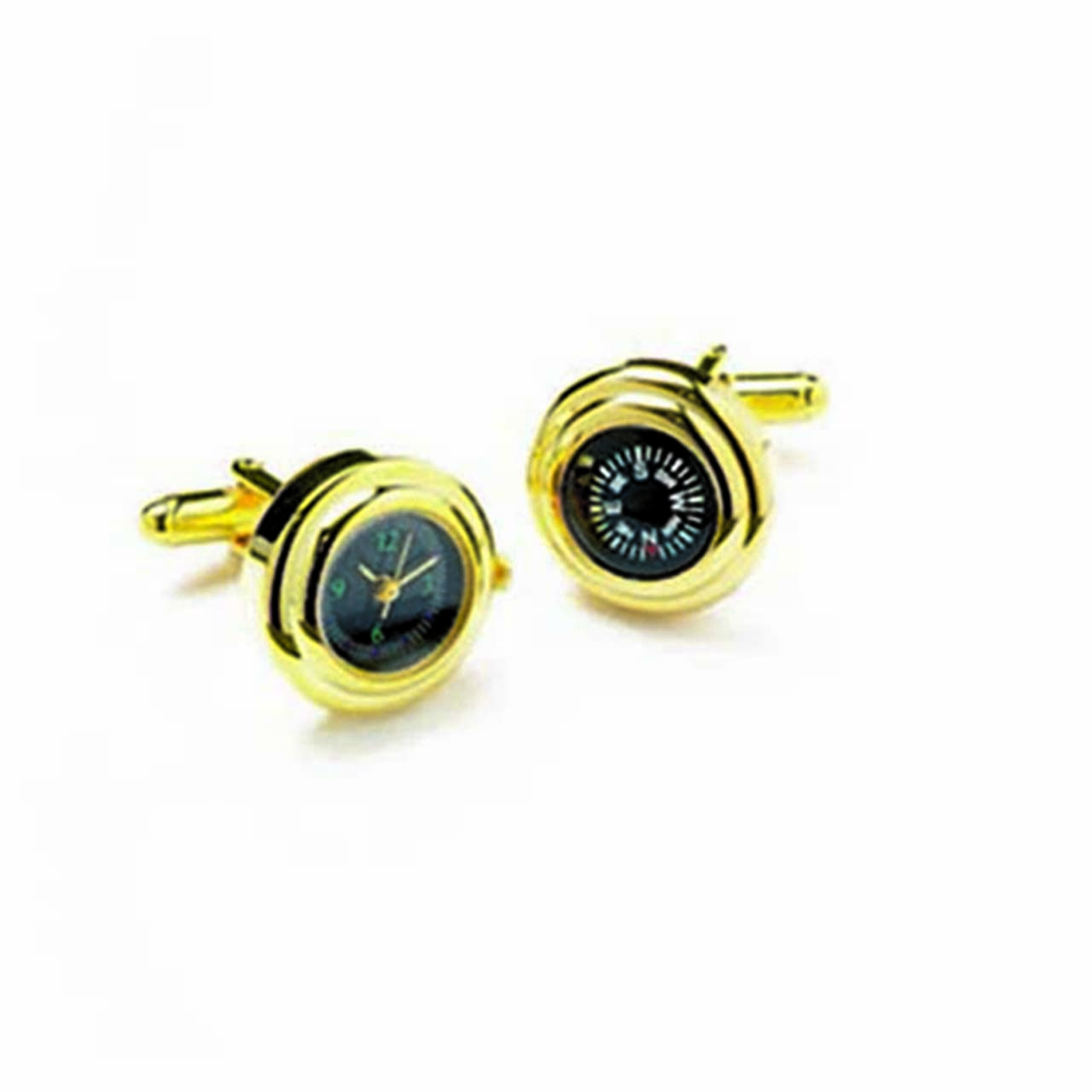 Gold Watch & Compass Cufflinks