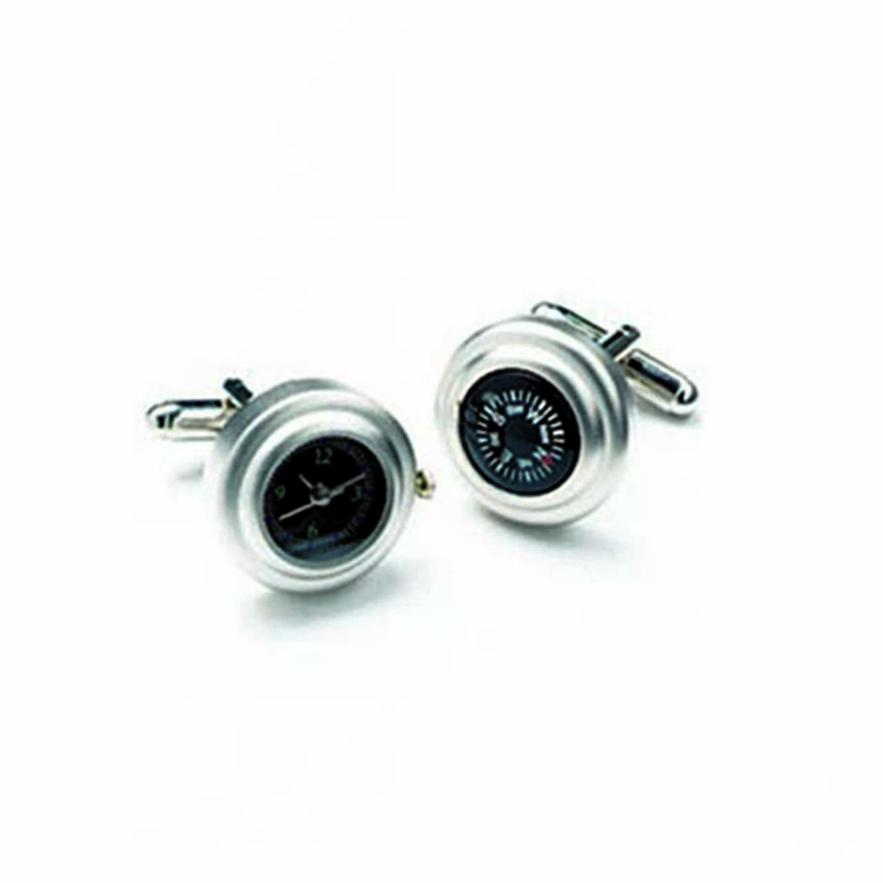 Satin And Rhodium Watch And Compass Cufflinks