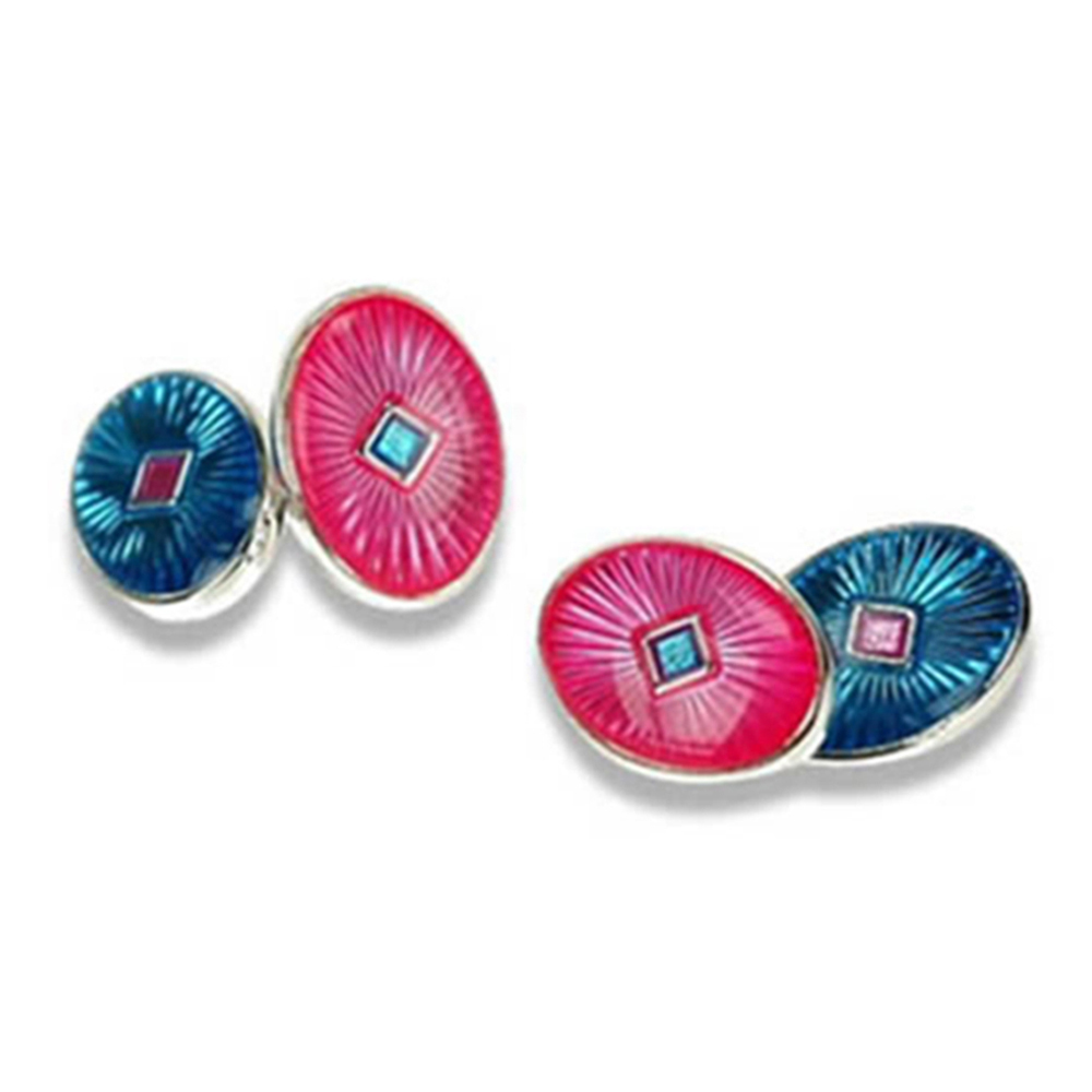 Blue & Pink Chain Link Cufflinks