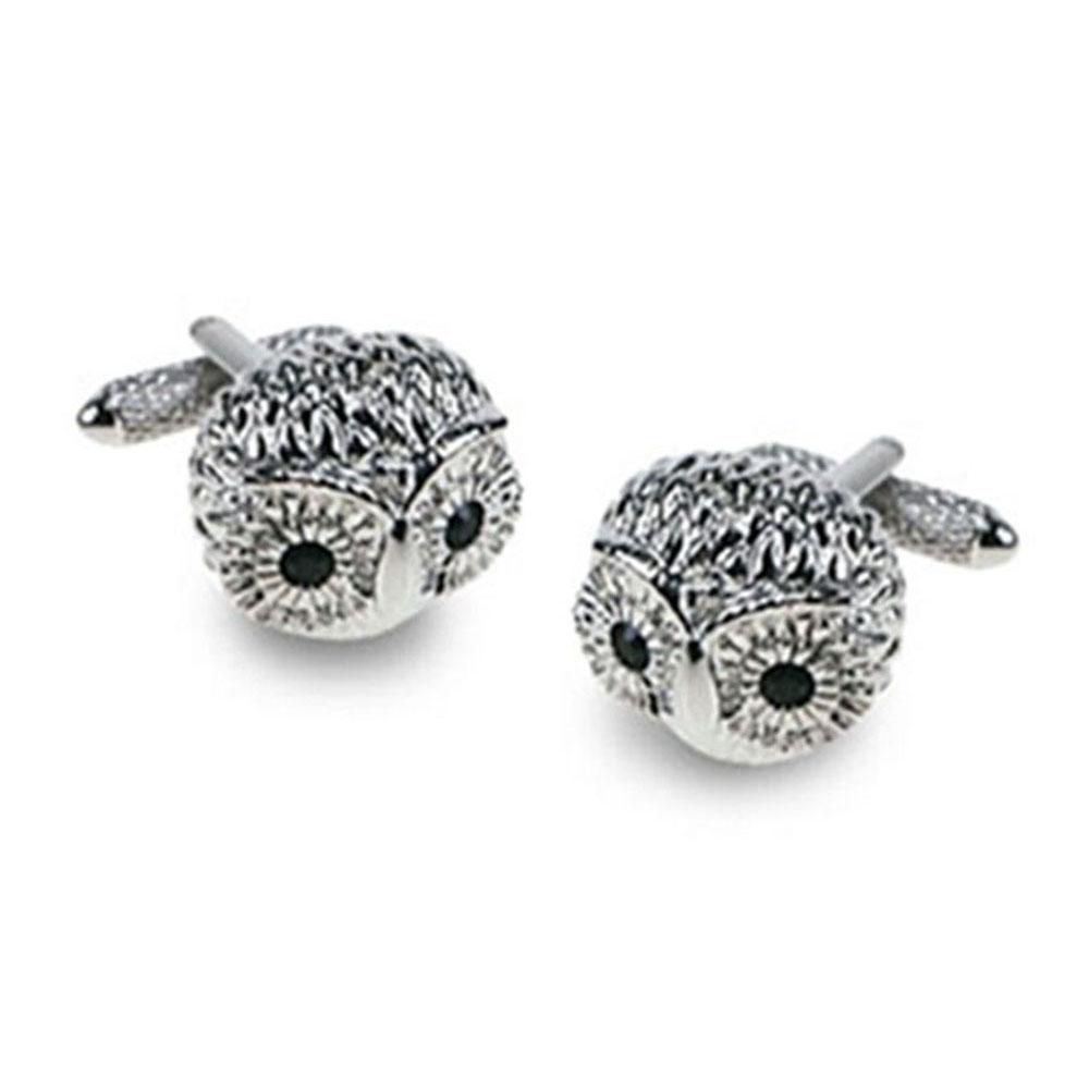 Owl With Jet Crystal Eyes Cufflinks