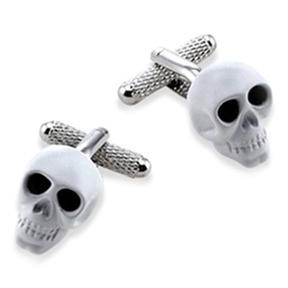 Skull White With Black Crystal Eyes Cufflinks