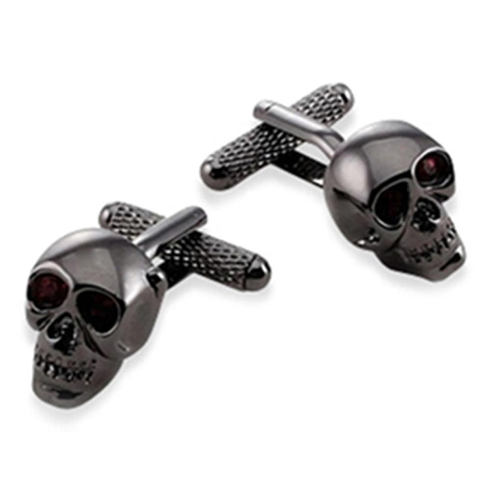 Skull Gun Metal With Red Crystal Eyes
