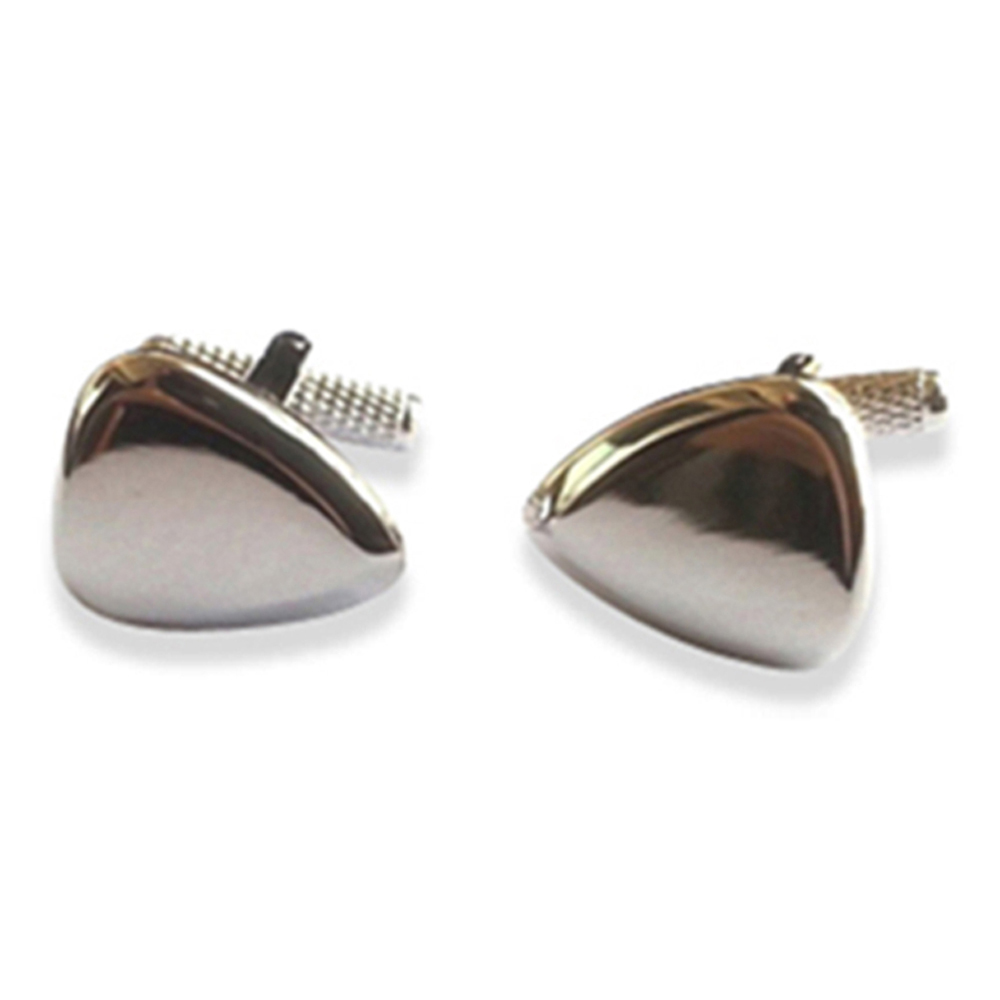Rhodium Plectrum Cufflinks