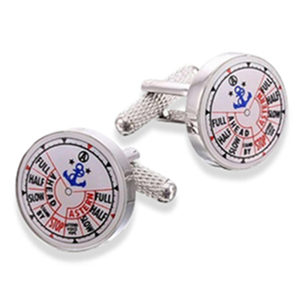 Ship Telegraph - Rhodium Cufflinks