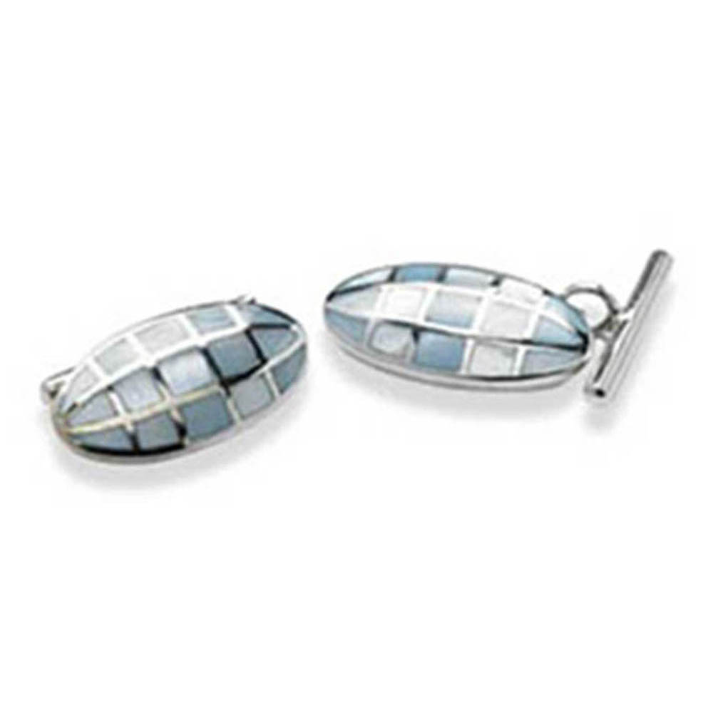 Sterling Silver With Blue Mother Of Pearl Chain Link Cufflinks