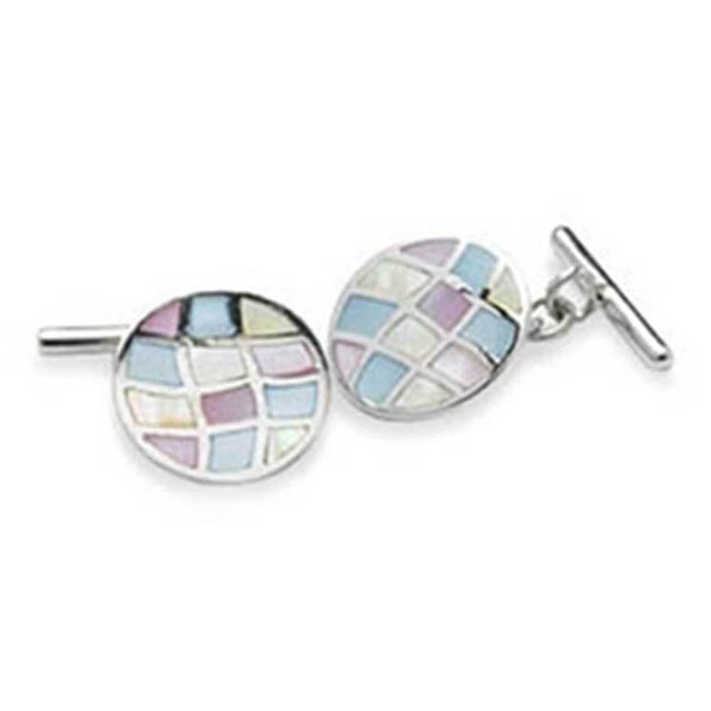Sterling Silver With Multi Coloured Mother Of Pearl Chain Link Cufflinks