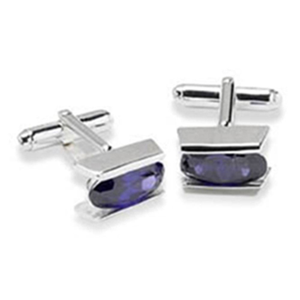Sterling Silver With Cubic Zirconia And Amethyst Cufflinks